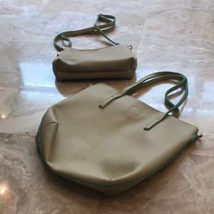 Two Cream/Tan Purses with Green Rimming